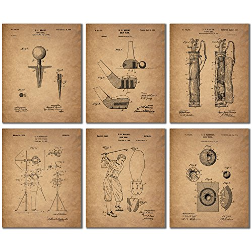 Golf Patent Wall Art Prints - Set of 6 Photo Prints