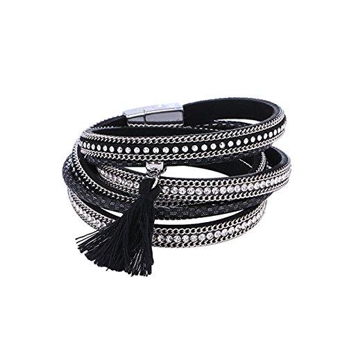 Treend24 Elegant dames slake armbanden Boho ibiza strass zilver dubbele armband studs Beach Pastel Summer wikkelarmband ster zwart kwast