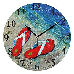 Dozili Love My Flipflops Painting Round Wall Clock Arabic Numerals Design Non Ticking Wall Clock Large for Bedrooms,Living Room,Bathroom