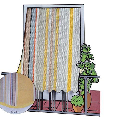 R.P. Tenda da Sole per Esterno in Tessuto multirighe con Anelli per Balcone, terrazzo, casa - Cm 150x250 - Giallo