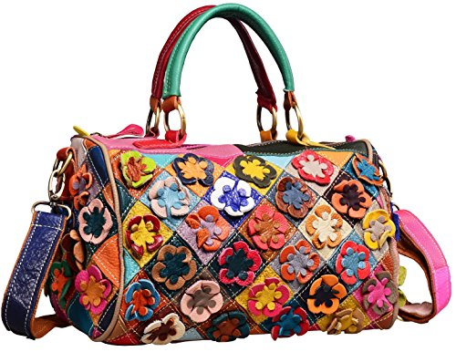 Heshe Hobo Organizer Multi-color Stitching Splicing Shoulder Cross Body Top Handle Bags Handbags for Women with Flowers Summer Style (Colorful-2B4020)