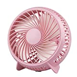 Desk Fan, 4.7 in Small Mini Quiet USB Desktop Cooling Fan with 3 Speeds for Office Home Table (Pink)