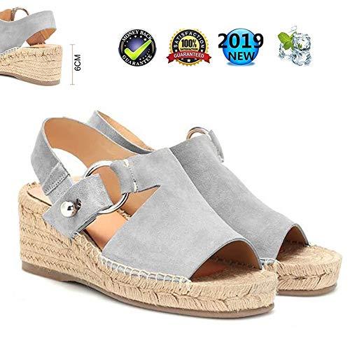 Sandals Peep Toe Wedges espadrilles, plateau wighak dames zomer elegant plat leer comfortabele casual schoenen, 6 cm hoge hak grijs