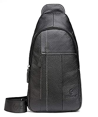 Genuine Leather Shoulder Backpack For Men Women Sling Crossbody Bag For Travel Crossbody Backpack with Charging Port - Black