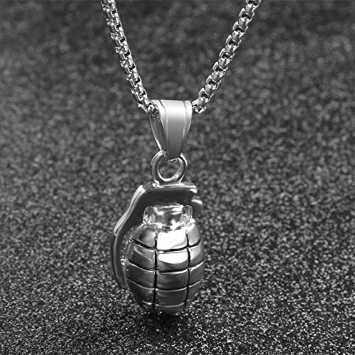 JJZCSXH Ciondolo Guerriero in Acciaio Inossidabile Militare Uomini Gioielli Arma Bomba Bombe a Mano Ciondolo Collana Guerriero,Silver