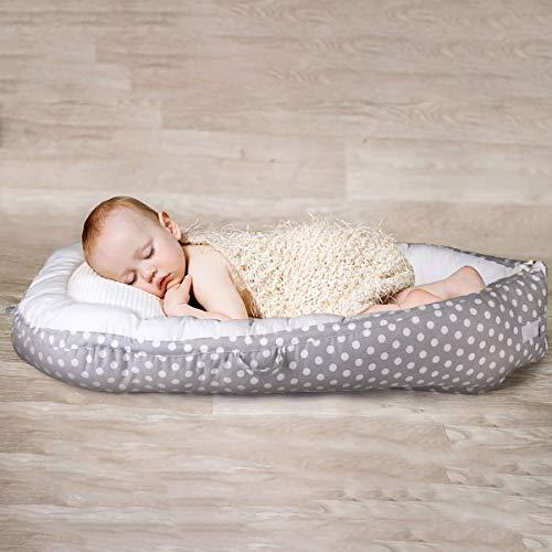 Star Ibaby Cuna Nido de Bebé Reversible, Algodón 100% Antialergenico - Color Blanco y Gris