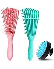 Detangling Brush Set, Detangler Brush Hair Scalp Massager Shampoo Brush Scalp Care Brush for Hair Textured 3a to 4c Kinky Wavy/Curly/Coily/Wet/Dry/Oil/Thick/Long Hair