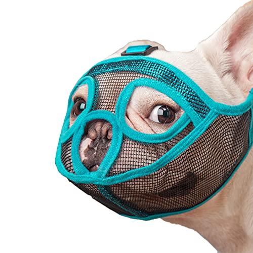 wintchuk Short Snout Dog Muzzle Mesh Bulldog Muzzle Anti-Biting Barking Chewing, Adjustable (L, Lake Blue)
