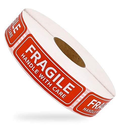 500 pegatinas frágiles para embalaje, mango con cuidado, pegatinas frágiles, adhesivo rojo advertencia etiqueta de envío para transporte y embalaje (25 mm x 75 mm)