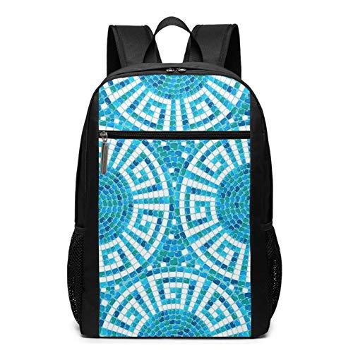 Schulrucksack Pool Mosaic Ceramic Geometric, Schultaschen Teenager Rucksack Schultasche Schulrucksäcke Backpack für Damen Herren Junge Mädchen 15,6 Zoll Notebook