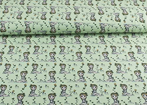 Hochwertiger Baumwoll Jersey Stoff Meterware mit dem Muster sitzendes süßes Mädchen mit Herzen in hellgrün I Mädchenstoff in verschiedenen Farben I Maße: 25 cm x ca. 145 cm und ca. 220g/m² Öko Tex