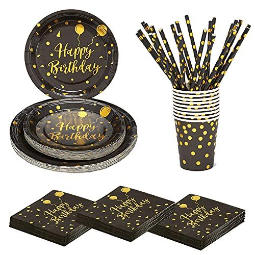 120 Pcs Vajilla Cumpleaños Negro Oro,Vajilla de Fiestas,Juego de vajilla para fiestas,Juego Vajilla Desechable,Juego de Vajilla Cumpleaños Incluye platos,tazas,servilletas,Pajitas,para 24 Invitados