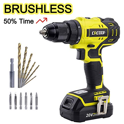 Cacoop Cordless Drill Driver Set, 20V Brushless Compact Drill with Lithium-ion Battery and Charger, 1/2 inch Keyless Chuck, 2 Variable Speed, for Home DIY Wood Drilling