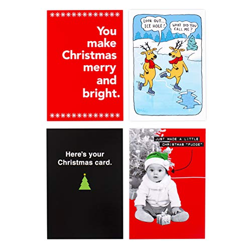 Hallmark Shoebox Funny Boxed Christmas Cards Assortment (4 Designs, 24 Christmas Cards with Envelopes)