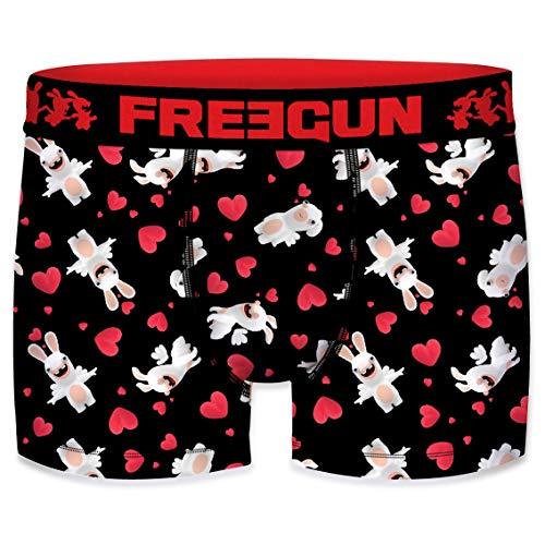 FREEGUN Boxer Homme Lapins Crétins St Valentin Cupidon (S, Love Fly)