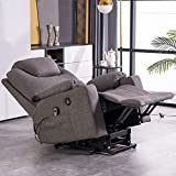 Yoken Electric Power Lift Recliner Chair, Lifting, Heating, USB Socket, Cup Holder, Storage Bag, Remote Control Vibration, Load-Bearing 330 pounds, Single Recliner(Textile, Gray)