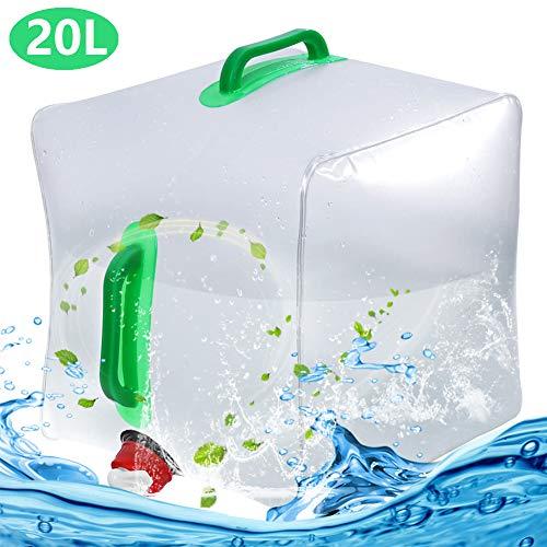 Fasserkanister Faltbar, BESTZY 20L Wasserbeutel Tragbarer Eimer Falten Auto Trinkwasser Topf Tragbar Faltbarer Wassertank mit Haltegriff Zapfhahn für Picknick Travel BBQ (ohne BPA)