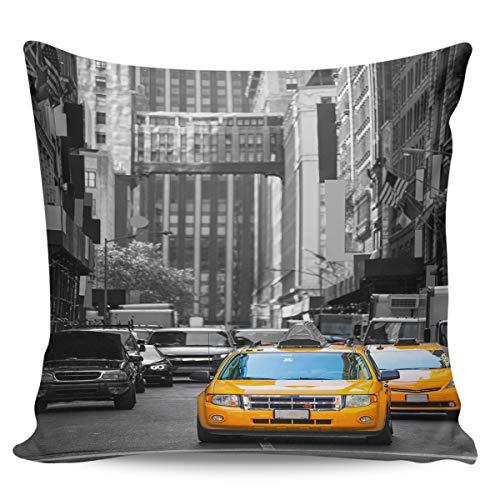 Scrummy Fundas de almohada de 66 x 66 cm, diseño de taxi, color amarillo, negro, edificio comercial, famoso paisaje urbano de Manhattan, fundas de cojín cuadradas para decoración del hogar