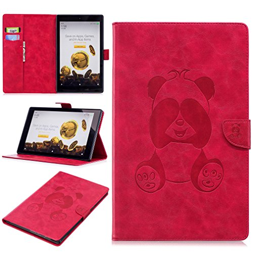 LMAZWUFULM Case for Amazon Fire HD 10 2017 (10,1 Inch) PU Leather Case Magnetic Closure Shy Panda Pattern Flip Cover Red