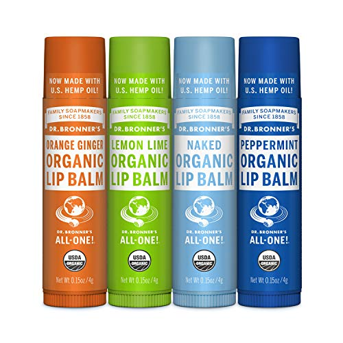 Dr. Bronners - Organic Lip Balm (4-Pack Variety Peppermint, Orange Ginger, Naked, Lemon Lime) - Made with Organic Beeswax and Avocado Oil, For Dry Lips, Hands, Chin or Cheeks