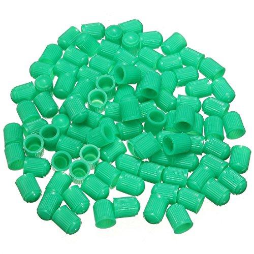 Reifenventilkappen - SODIAL(R)100pcs Plastic Ventilkappen Reifen Kappe Ventil Abdeckung fuer Auto PKW Motorrad Gruen