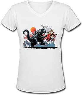 Catching Kaiju Godzilla V-Collar Women's Short Sleeve Tee White