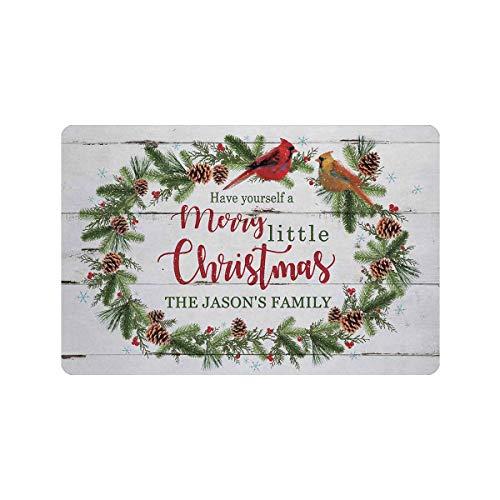 Custom Doormat, Personalized Mat Have Yourself Merry Christmas Text Doormat Door Custom Family Name Floor Mat Outdoor Indoor Front Mat Entrance Welcome Rug Kitchen Rug Non Slip Mat 23.6 x 15.7 Inches