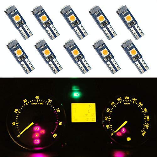 WLJH Lot de 10 ampoules LED T5 3030-3SMD pour tableau de bord Ambre/jaune