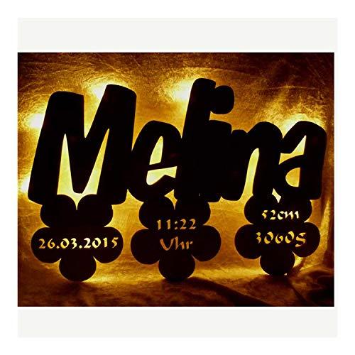 Geburtsanzeige Wickeltisch Lampe mit Wunsch Name und Geburtsdaten Geschenk Neugeborenes Baby Geburt Geburtsgeschenk Led Junge Mädchen personalisiert