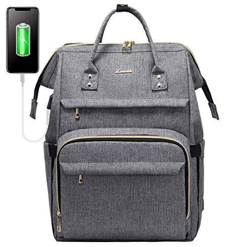 Laptop Backpack for Women Fashion Travel Bags Business Computer Purse Work Bag with USB Port, Grey, 17-Inch