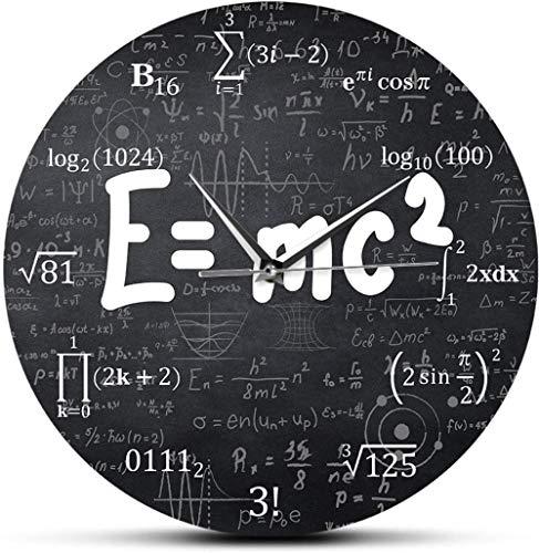 Reloj De Pared Albert Einstein E = Mc2 Teoría De La Relatividad Fórmula Matemática Geek Científico Física Maestro Regalo Escuela Decoración Para El Aula Reloj De Arte Negro Redondo