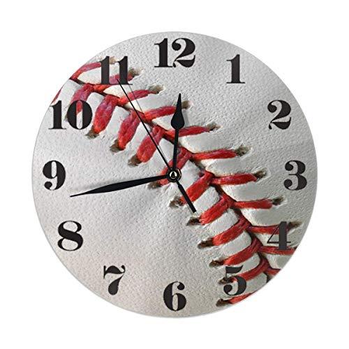N/A Diseño Minimalista,Arte En Casa,Bola De Béisbol Detalle Reloj De Pared Redondo Decorativo Sin Tictac para Cocina En El Hogar Oficina Aula Dormitorio Sala De Estar,Fácil De Leer