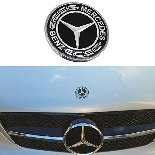 57MM Chrome Mercedes Benz Logo Flat Hood Star Emblem Badge for Mercedes Benz C E SL Class Decoration.(Black Laurel Wreath)