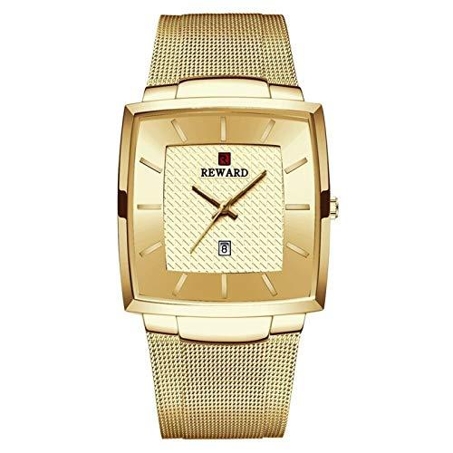 JCCOZ-URG Top Lujo de la Marca de los Hombres Relojes de Oro de Acero Inoxidable Reloj de Cuarzo de los Hombres de Negocios a Prueba de Agua Fecha de Pulsera URG (Color : Golden)