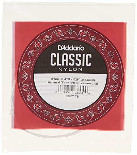 D Addario J2704 - Cuerda individual de nailon para guitarra clásica, nivel principiante, tensión normal, cuarta cuerda, plateado