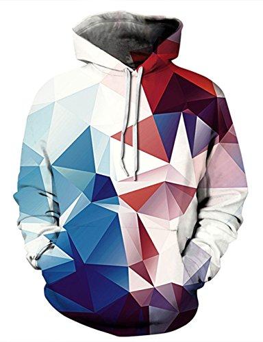 AIDEAONE Herren Hoodie Diamond Pullover Hoody Kapuzenpullover Langarm Hooded Sweatshirt Hoody XXL