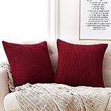 Deconovo Funda para cojin Almohada Decorativa Prodector del Sofa Silla 2 Piezas 50x50cm Rojo Vino