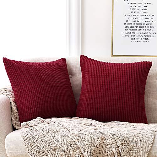 Deconovo Kissenbezug Kordsamt Dekokissen Kissenhülle mit Verstecktem Reißverschluss Super Weich für Sofa Couch Schlafzimmer Weinrot 40x40 cm 2er Set
