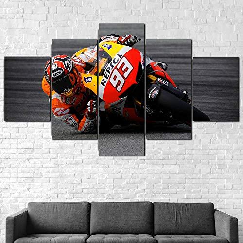 runtooer Bilder Dekorative Malerei Spray Malerei Leinwand Malerei 5 Stück Modern MotoGP Sport Fahrrad Leinwand Wandbild, Möbel Art Deco, Rahmen