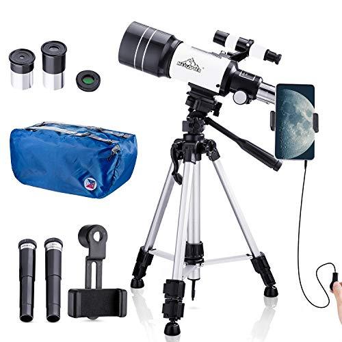 150X Astronomie Monoculaire telescoop 300 / 70mm voor kinderen met zoeker, statief en H6mm & H20mm oculair, geleverd met telefoonadapter, draadsluiter, maanfilter en rugzak