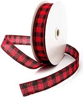1in -25yd Red and Black Buffalo Plaid Ribbon Fabric Plaid Burlap Ribbon Christmas Wired Ribbon Ribbon for DIY Gift Wrappin...