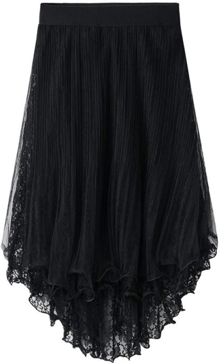 FSDFASS Skirt 2019 Summer 3 Layers Mesh Tulle Asymmetrical Lace Midi Skirts Womens Puffy Hollow Out Gothic Style