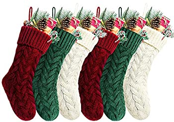 Kunyida 18 Inches Burgundy Ivory Green Knitted Christmas Stockings,6 Pack