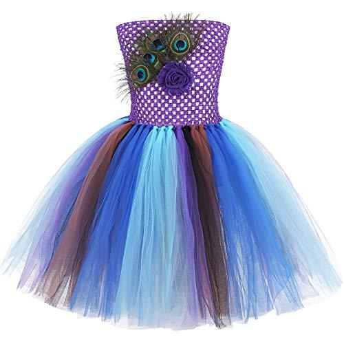 IEFIEL Disfraz Pavo Real Niña Vestido Tutú Princesa con Pluma de Pavo Real Disfraces Fiesta Cumpleaños Carnaval Halloween 1-12 Años