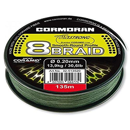 Cormoran Schnur 135 m Spule 0.25 Stärke Corastrong 8- Braid 8 Fach Geflochten aus Coramid, Grün, 32-513528