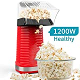 Electric Hot Air Popcorn Popper Maker for Home Party Kids, No Oil Needed, High Efficiency, Healthy Snack and Less Calories, DIY Your Own Taste-Red