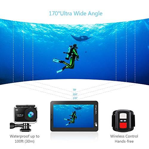 VanTop 4K Action Cam mit Touchscreen, 20MP WiFi Ultra HD wasserdichte Action Kamera, 30m Unterwasserkamera, mit 32 GB TF Karte, 2 Batterien und Zubehör kits - 5