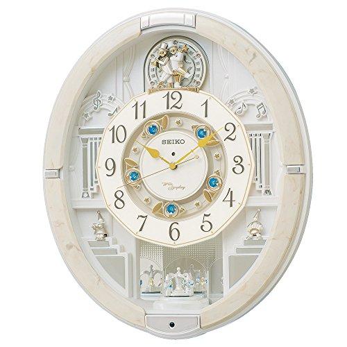 セイコー クロック 掛け時計 電波 アナログ からくり トリプルセレクション メロディ 回転飾り アイボリーマーブル 模様 RE576A SEIKO