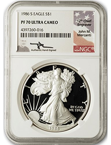 1986 S John Mercanti Signed American Silver Eagle $1 PF70 NGC