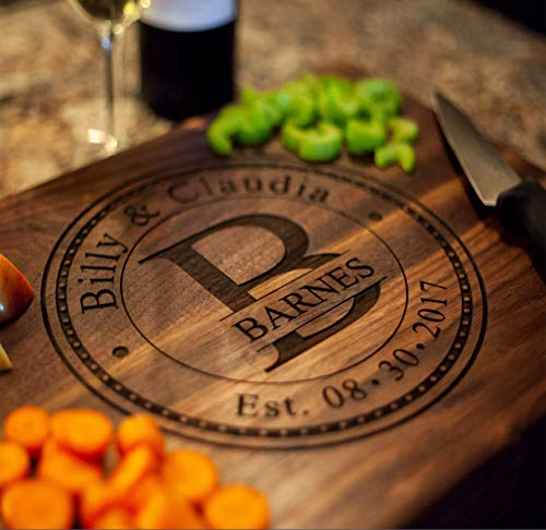 Anniversary Gifts or Wedding Gift - for couple or bride. Personalized Cutting Board Handmade in the USA. Great Wedding Gifts, Anniversary Gift for him, or Gift to Make your Spouse Feel Special!